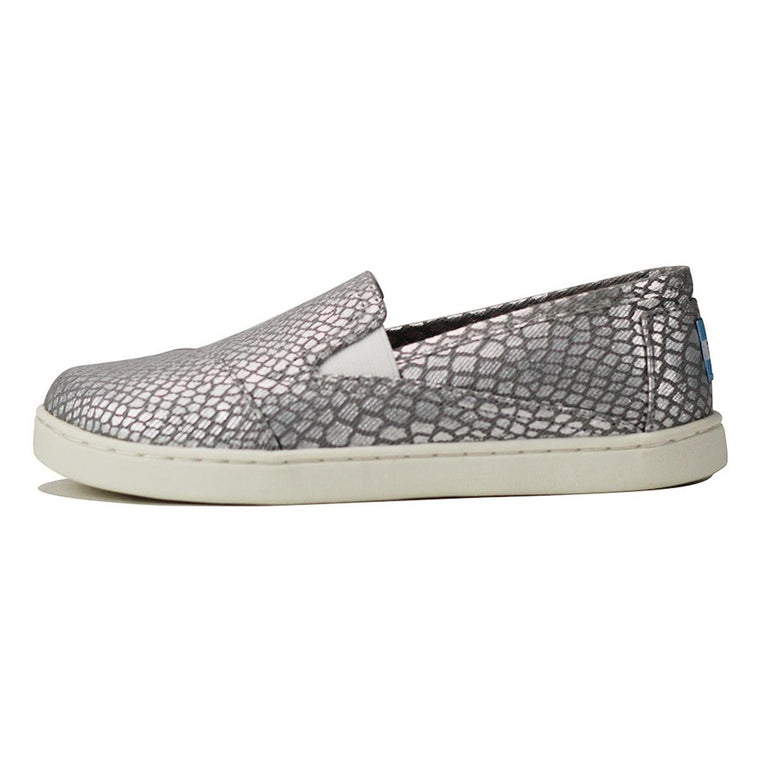 Toms for Kids: Avalon Silver Metallic Printed Canvas Sneaker