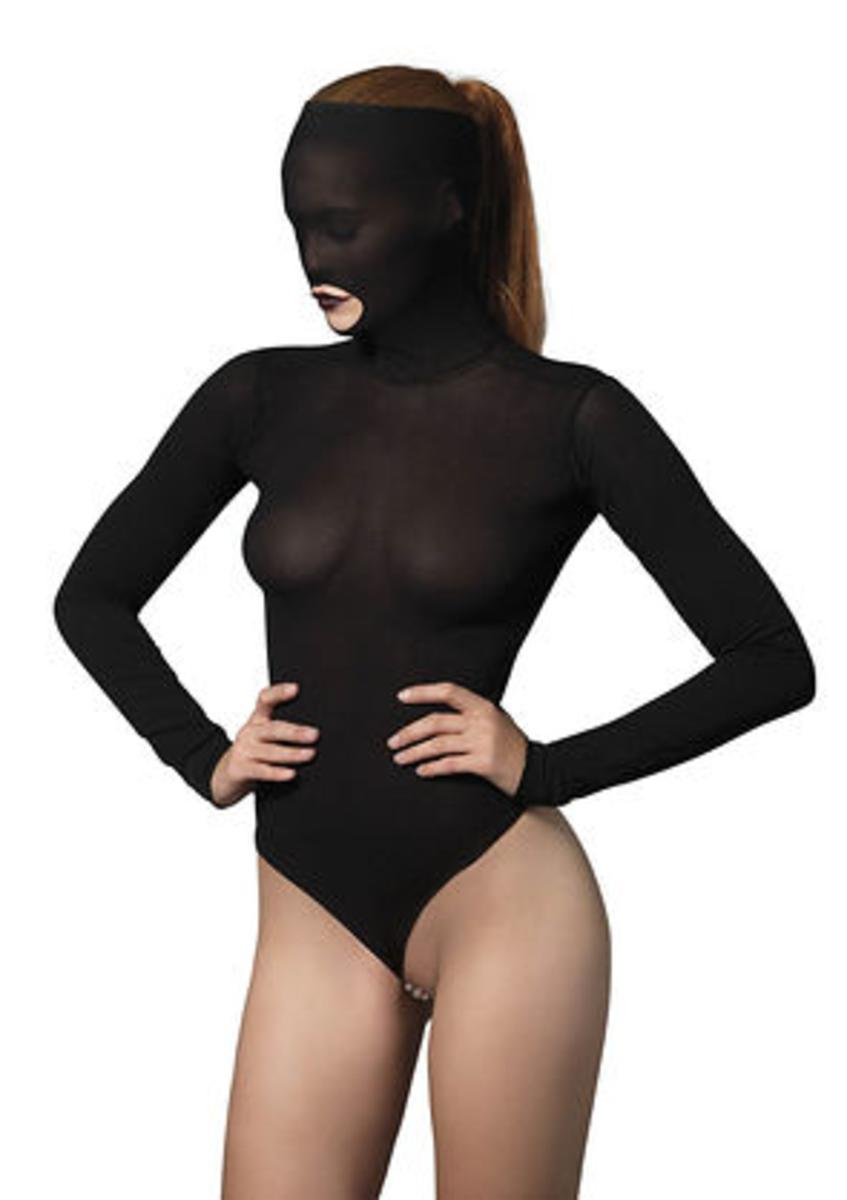 Opaque masked teddy with stimulating beaded g-string in BLACK