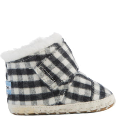 Tiny Toms: Cuna Black Plaid Brushed Twill Crib Shoes