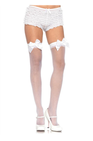 Sheer Thigh Hi W/ Satin Bow in WHITE