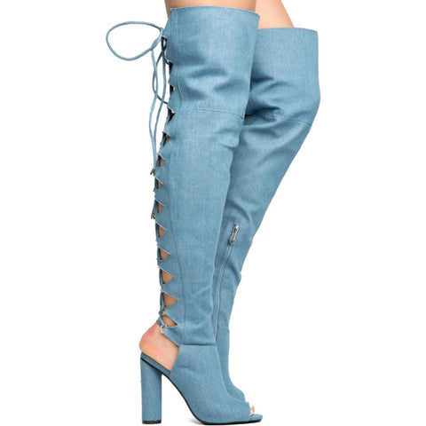 Cape Robbin Connie-40 Denim Women's High Heel Boot