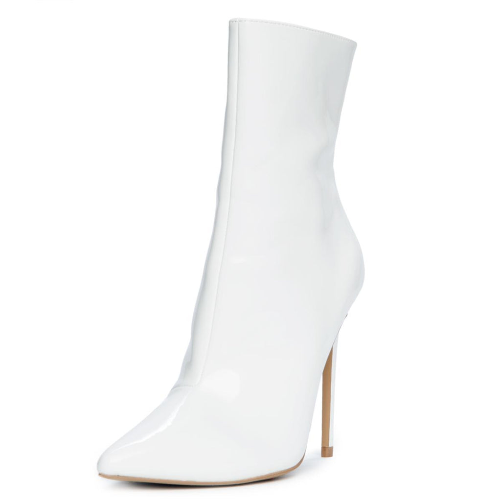 b4a103dd3bc7 Steve Madden Wagner Women s White Patent Heeled Bootie