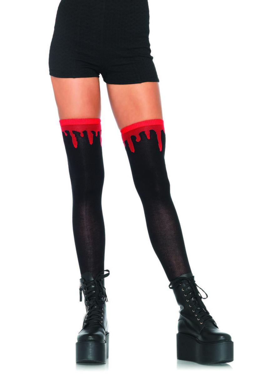 Dripping blood woven over the knee socks in BLACK/RED