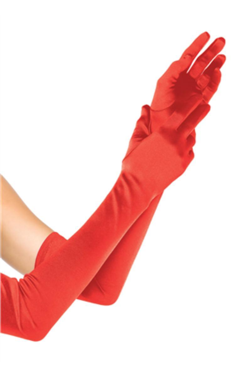 EXTRA LONG SATIN GLOVES in RED
