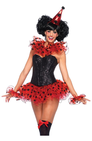 3PC.Clown Kit,ruffle neck piece, arm cuffs,and hat in RED/BLACK