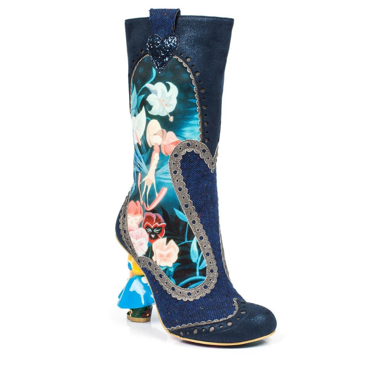 Irregular Choice Alice in Wonderland Collection: Lost Your Muchness Blue Heeled Boots