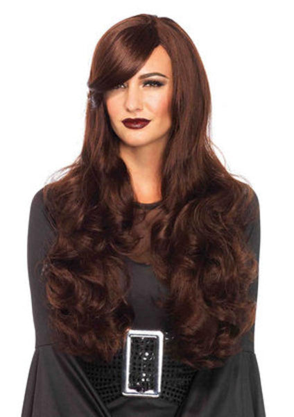 Long wavy  wig with adjustable strap in BROWN