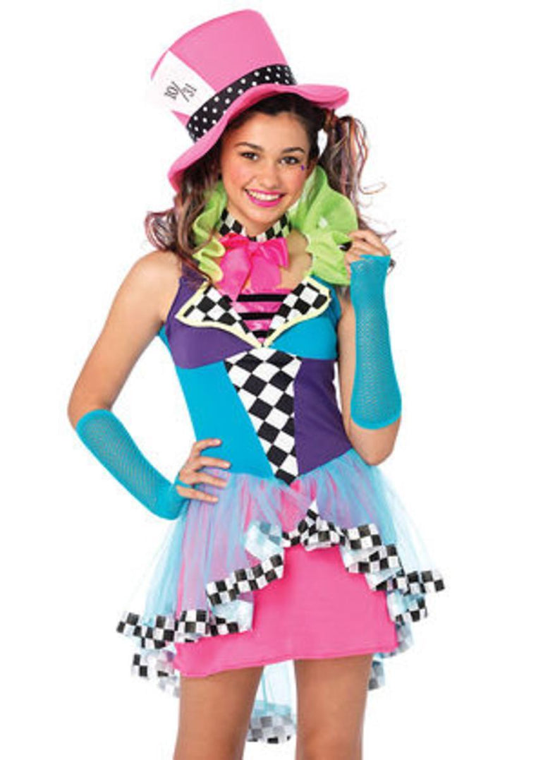 3PC.Mayhem Hatter,high/low dress,neck piece,hat in MULTICOLOR