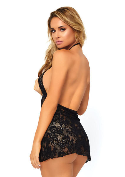 Women's Stretch Lace Backless Keyhole
