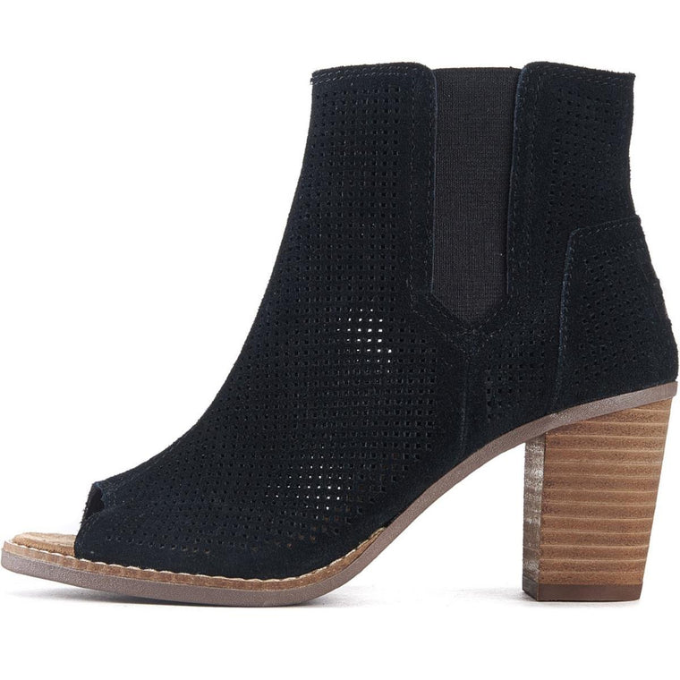 Toms for Women: Majorca Perforated Black Suede Heel Booties