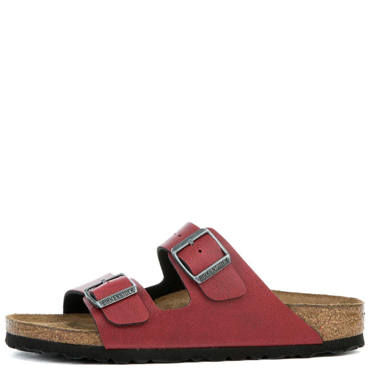 Women's Narrow Arizona Birko-Flor Bordeaux Pull Up Red Sandal