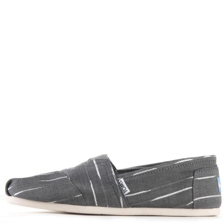 Toms for Men: Classic Grey White Mini Striped Flats