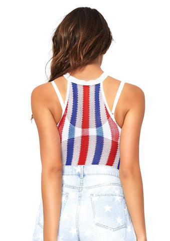 Women's Striped Net Halter Bodysuit