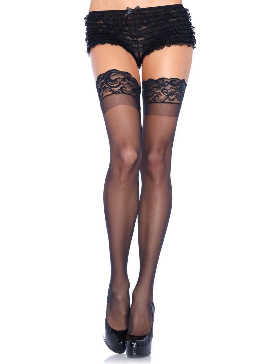 Stay Up 3inch Lace Top Lycra Sheer Thigh High in BLACK