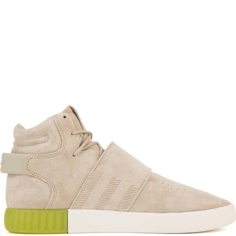 adidas for Men: Tubular Invader Sesame/Sesame/Semi Solar Slime Strap Sneakers
