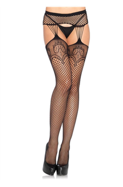 Industrial Net stockings w/duchess lace top,strand garterbelt in BLACK