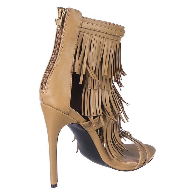 Women's Fringe Leather Heel Melko