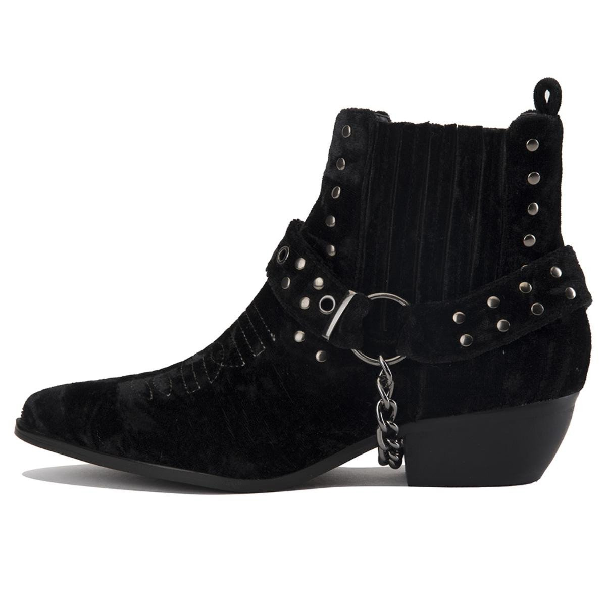 Y.R.U. for Women: Laso Black Velvet Bootie Heels