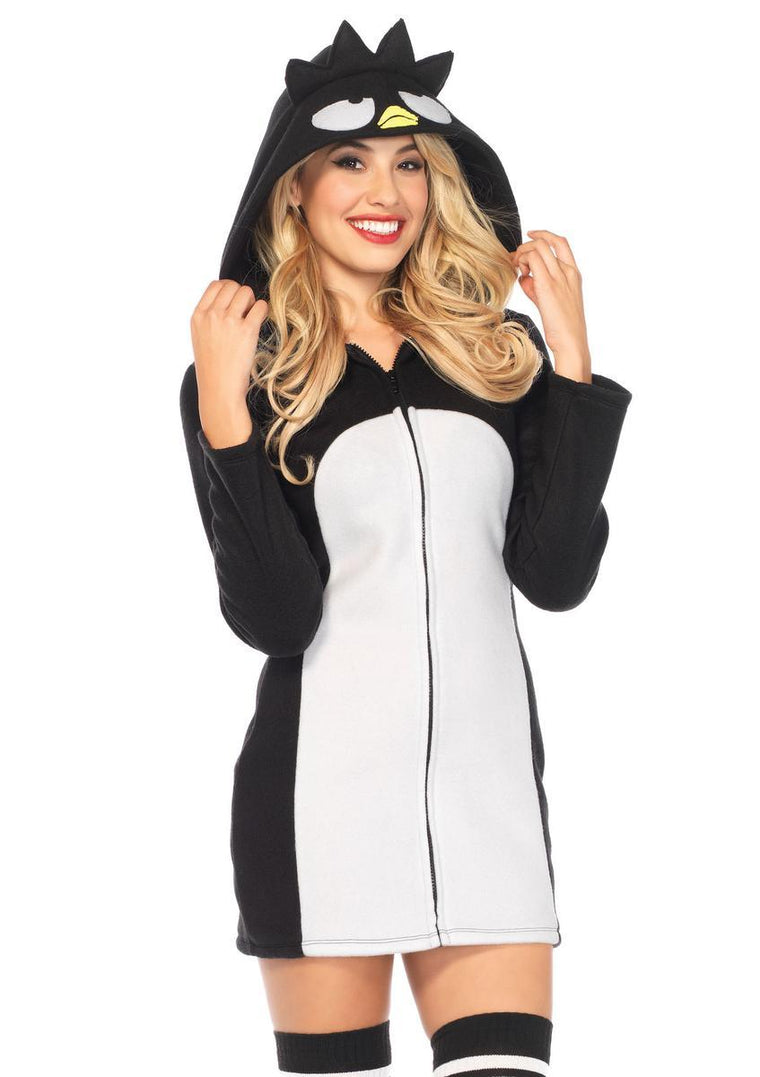 Batz Maru Cozy,zipper front fleece dress w/hood in BLACK/WHITE