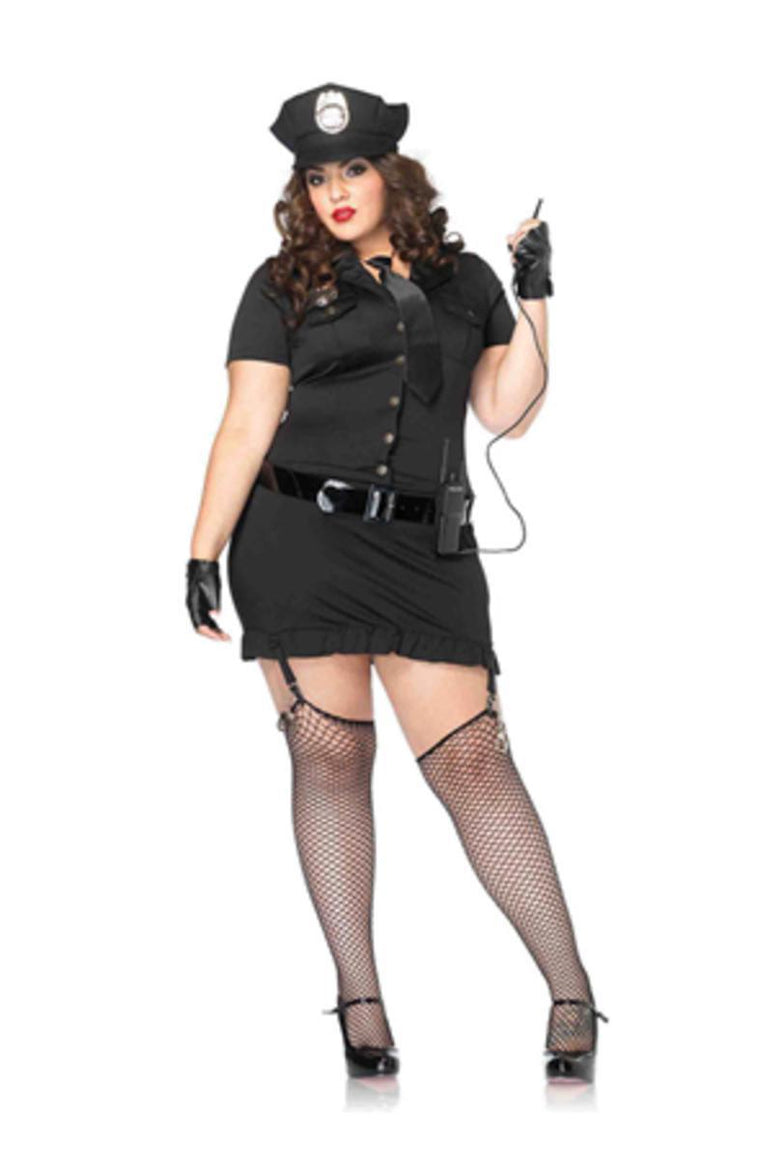 6Pc. Dirty Cop Incl Hat  Dress  Gloves  Belt  Tie & Walkie Talkie in BLACK