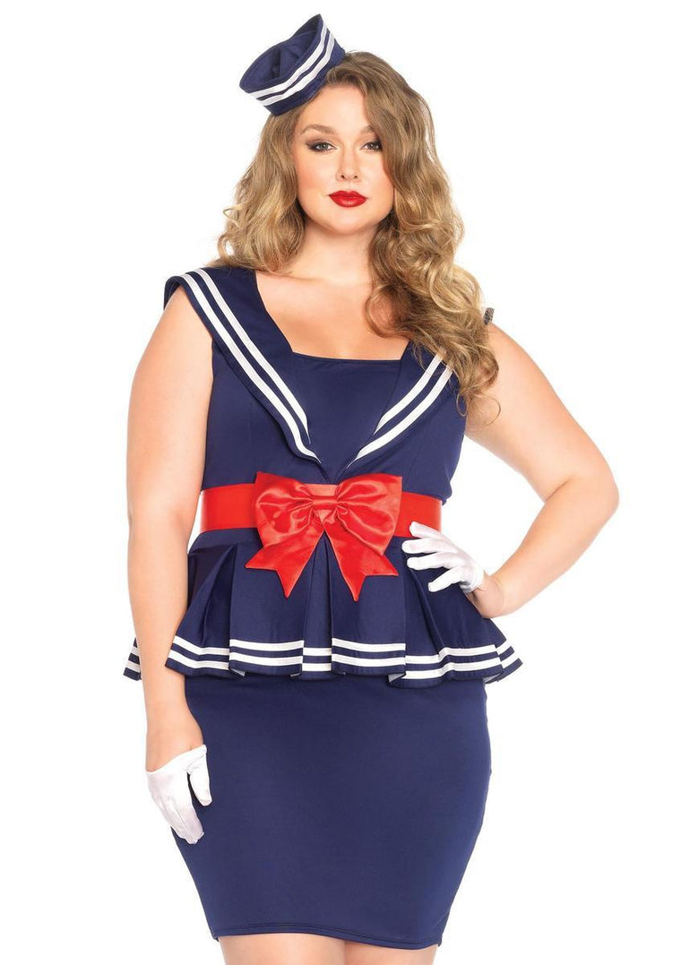 4PC.Aye Aye Amy,peplum sailor dress,bow belt,wrist cuffs,hat in BLUE