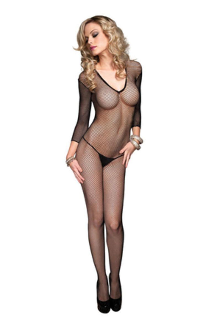 Seamless Fishnet V Front Long Sleeves Bodystocking in BLACK