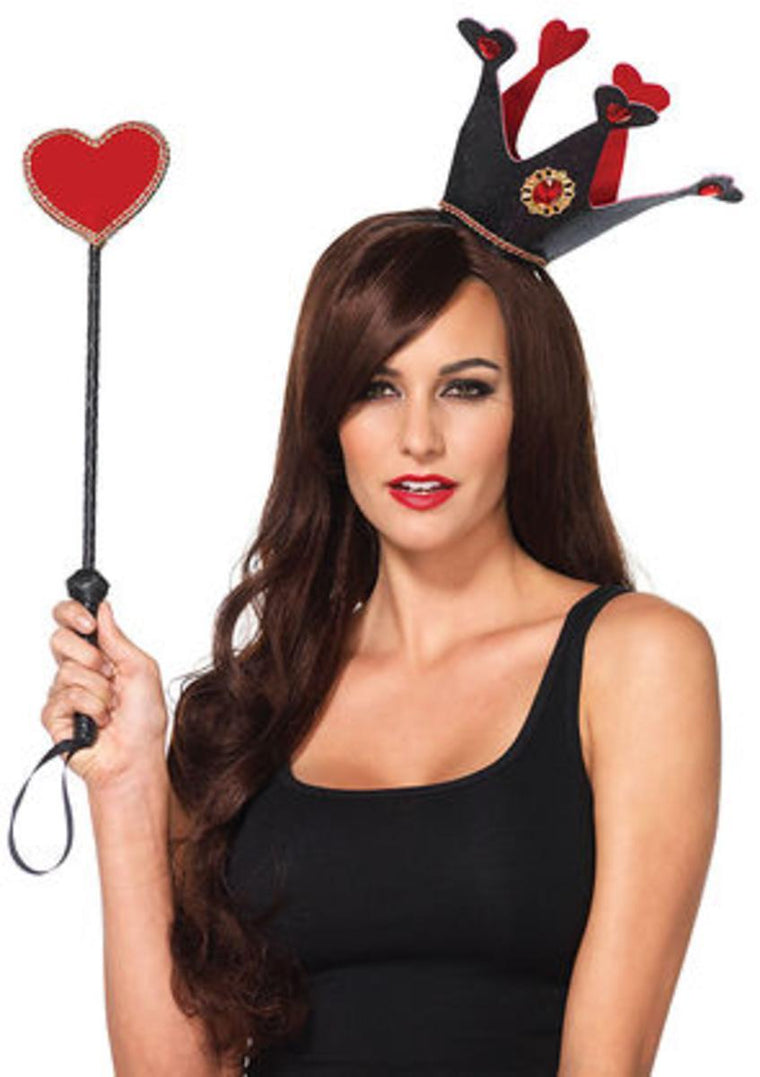 2PC.Royal crown headband and heart scepter in BLACK/RED