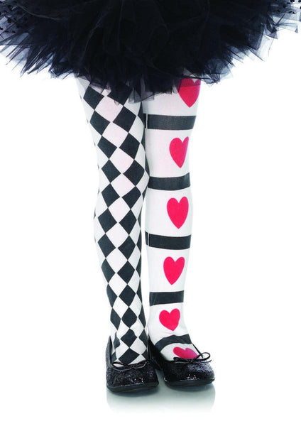 HARLEQUIN AND HEART TIGHTS in BLACK/WHITE