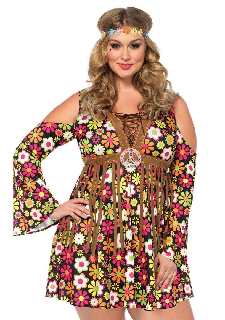 2PC.Starflower Hippie,cold shoulder floral fringe dress,flower headband in MULTICOLOR