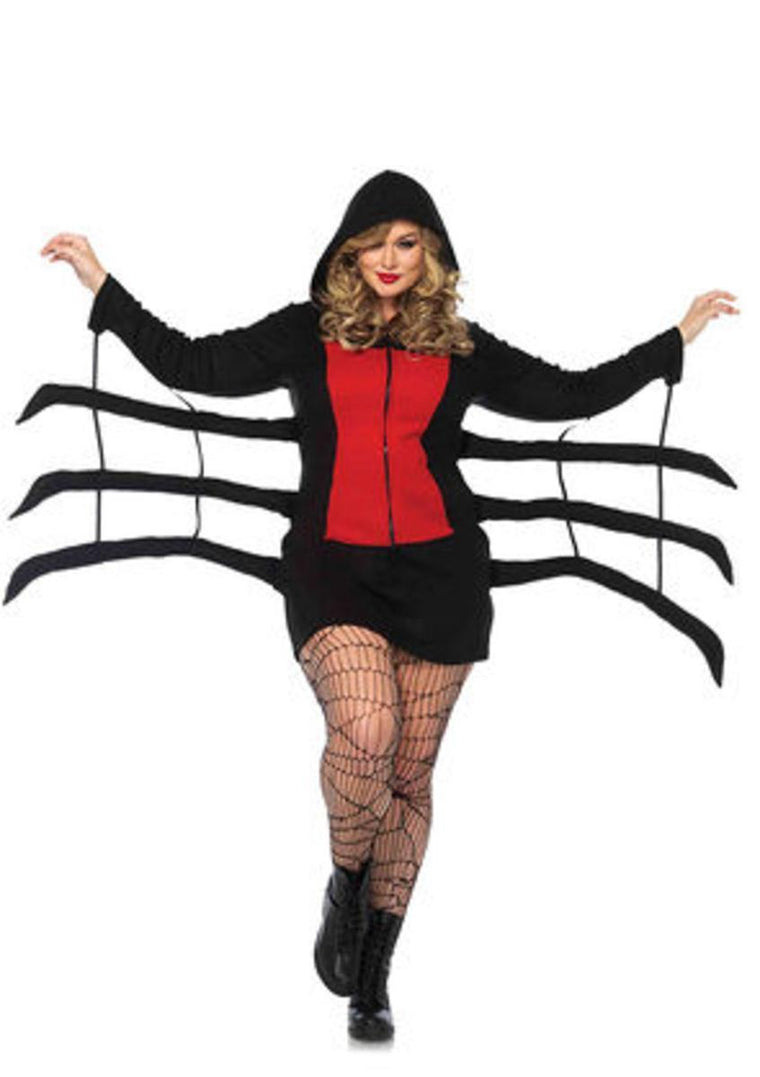 Cozy Black Widow fleece dress w/wiggly spider leg in BLACK/RED