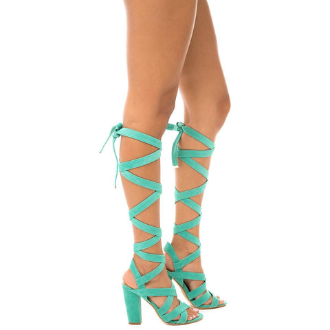 Women's May-1 Lace-Up Sandal Turquoise Strappy Sandals