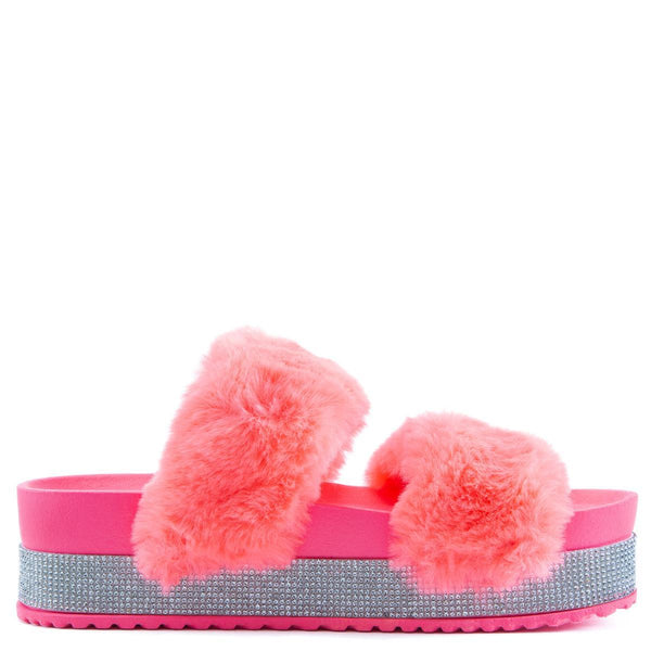 Nighttime-03 Double Band Fur Sandals