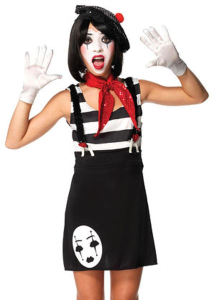 4PC.Miss Mime,dress,neck scarf,gloves,hat in BLACK/WHITE