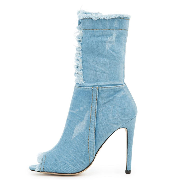 Cape Robbin Elnora-97 Women's Blue High Heel Boot