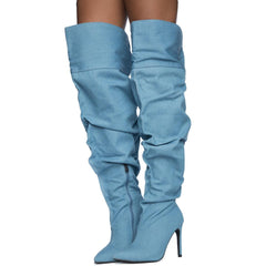 Cape Robbin Kitana-2 Women's Denim Boots