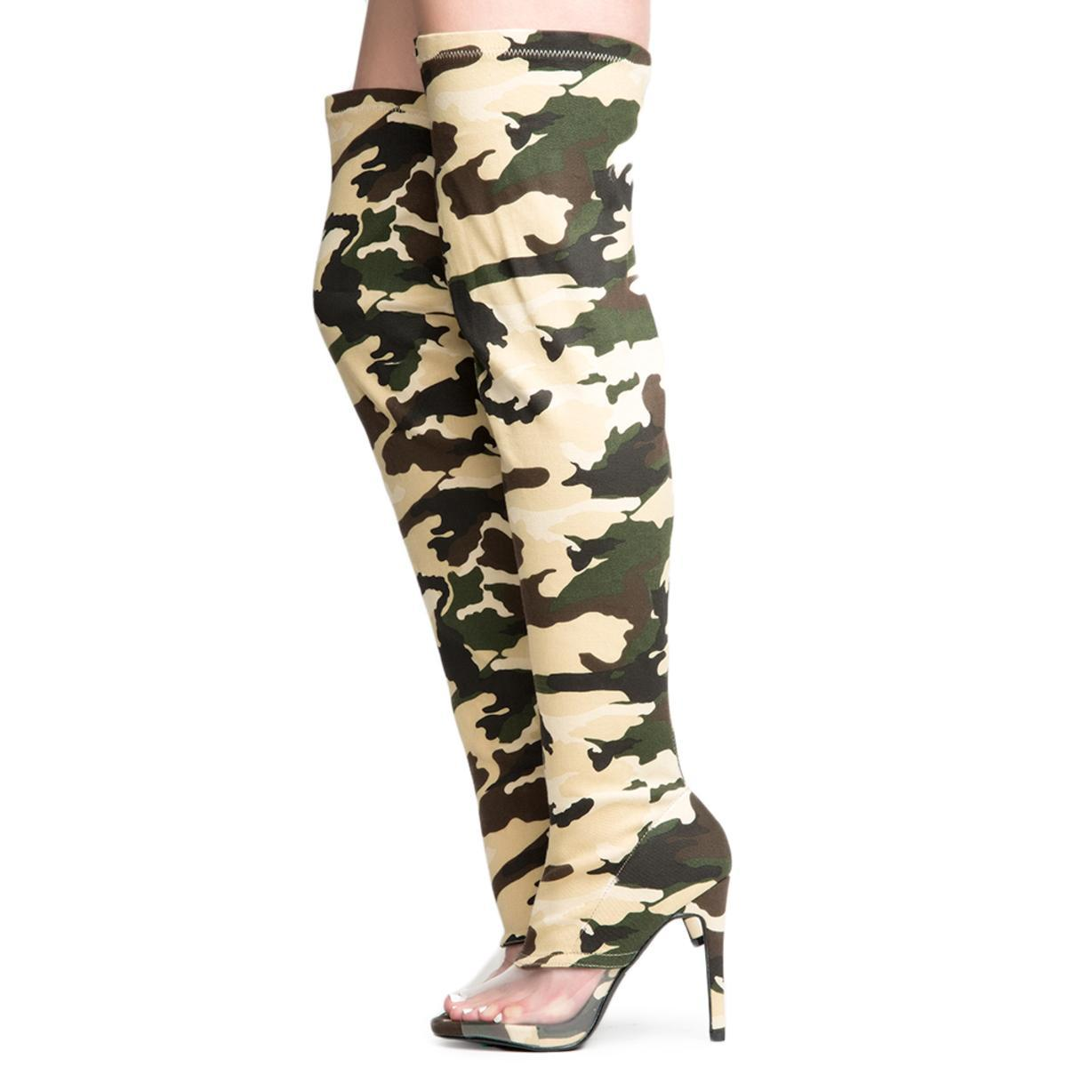 Cape Robbin Lola-15 Women's Camo Thigh High Boots