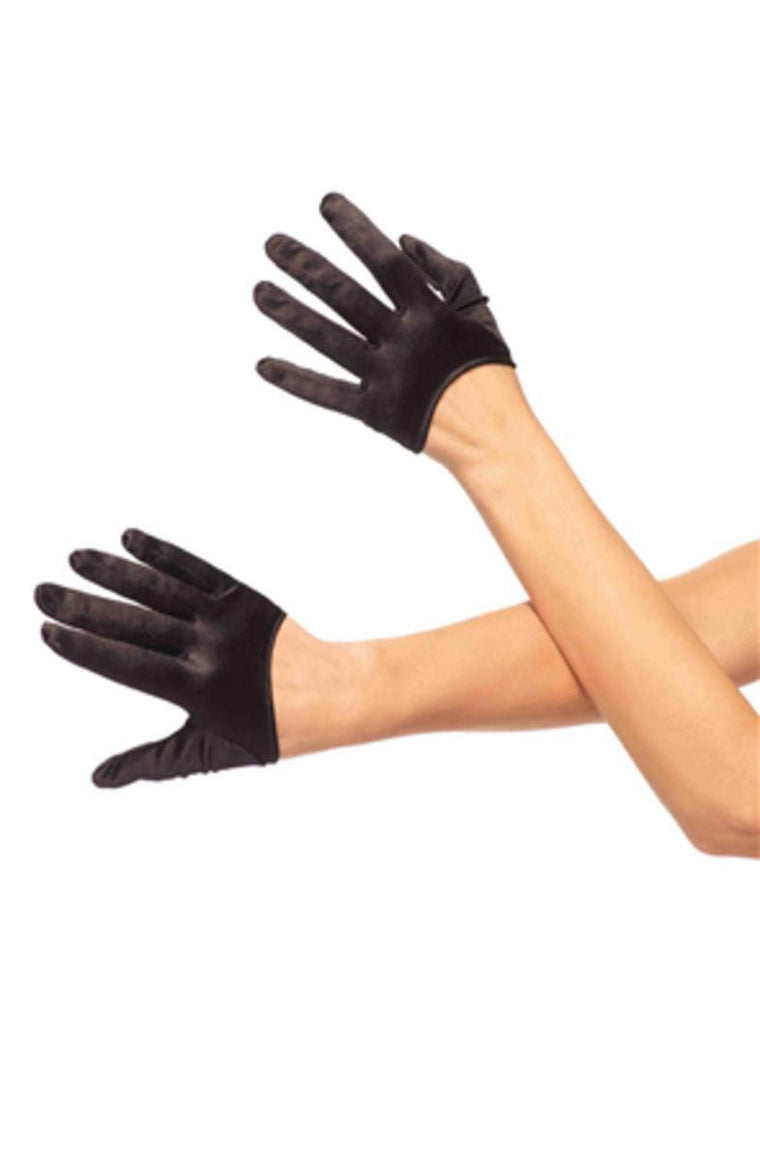 Mini cropped satin gloves in BLACK