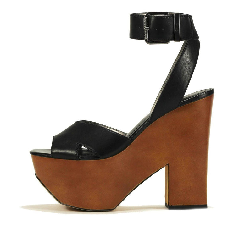 Circus by Sam Edelman: Camilla Black Leather Wedge High Heels