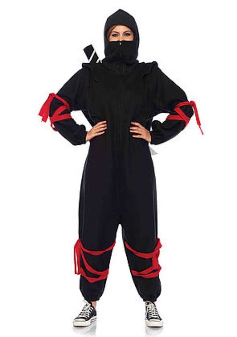 The 2PC. Ninja Kigarumi Funsie, Fleece Onesie, Velcro Foam Ninja Sword in Black and Red