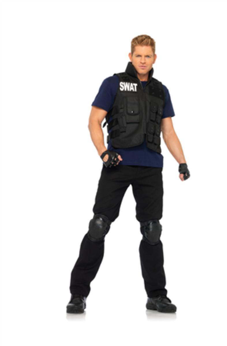 4PC.SWAT Commander,utility vest,shirt,knee pads,fingerless gloves in BLACK