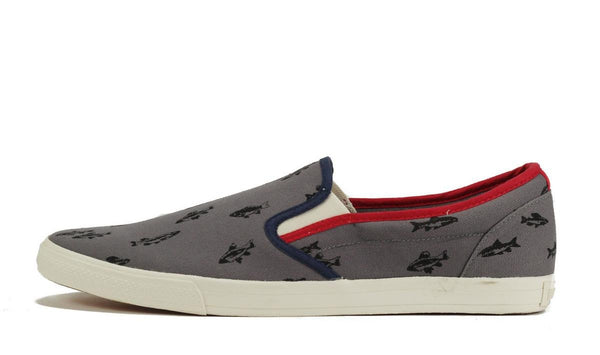 Ben Sherman for Men: Bruce Fishprint Grey Black Canvas Sneaker
