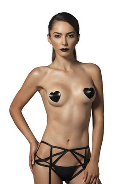 Padded satin heart nipple cover in BLACK