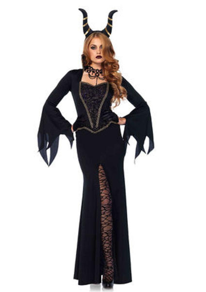 2PC.Evil Enchantress,dress w/lace bodice,horn headband in BLACK