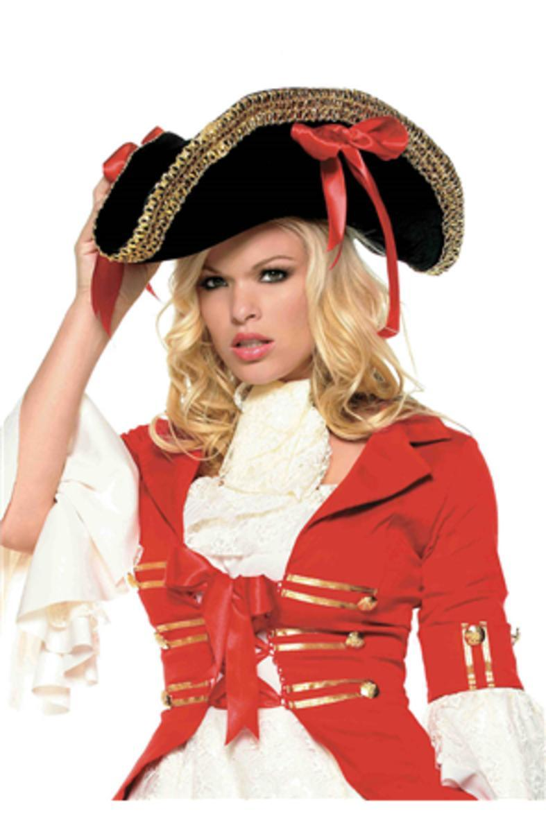 The Pirate Hat with Thick Gold Trim and Side Ribbons Topped in Black/Red