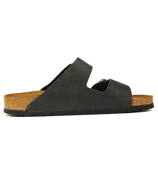 Birkenstock for Women: Narrow Arizona Oiled Leather Soft footbed Black Sandals