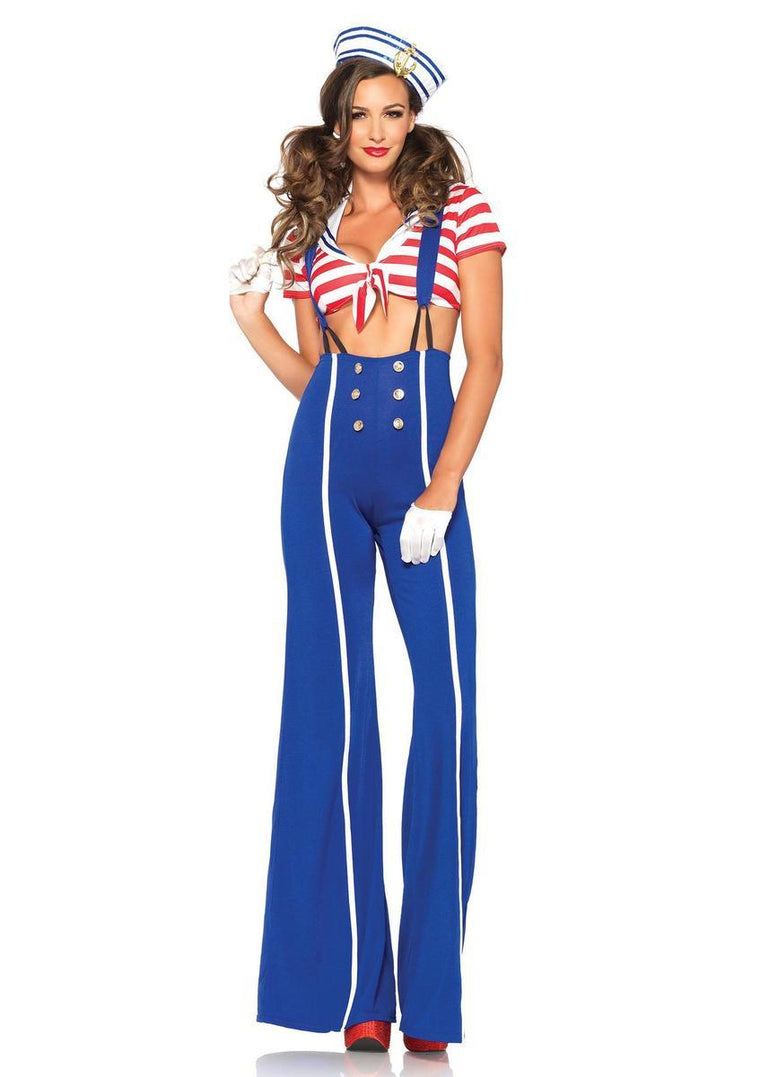 3PC.Ship Shape Sailor,crop top,flared pants w/suspenders,hat in BLUE/RED