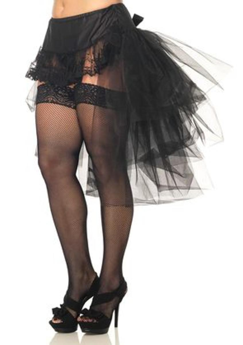 Tulle bustle skirt with lace front and satin bow accent in BLACK