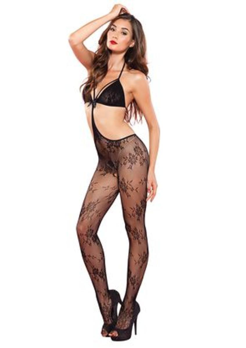 Floral lace strappy cut out bodystocking in BLACK