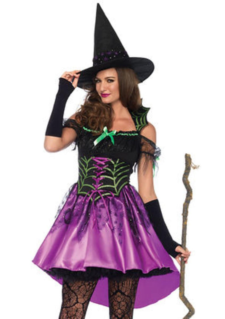 2PC.Spiderweb Witch,dress with high/low skirt,witch hat in MULTICOLOR