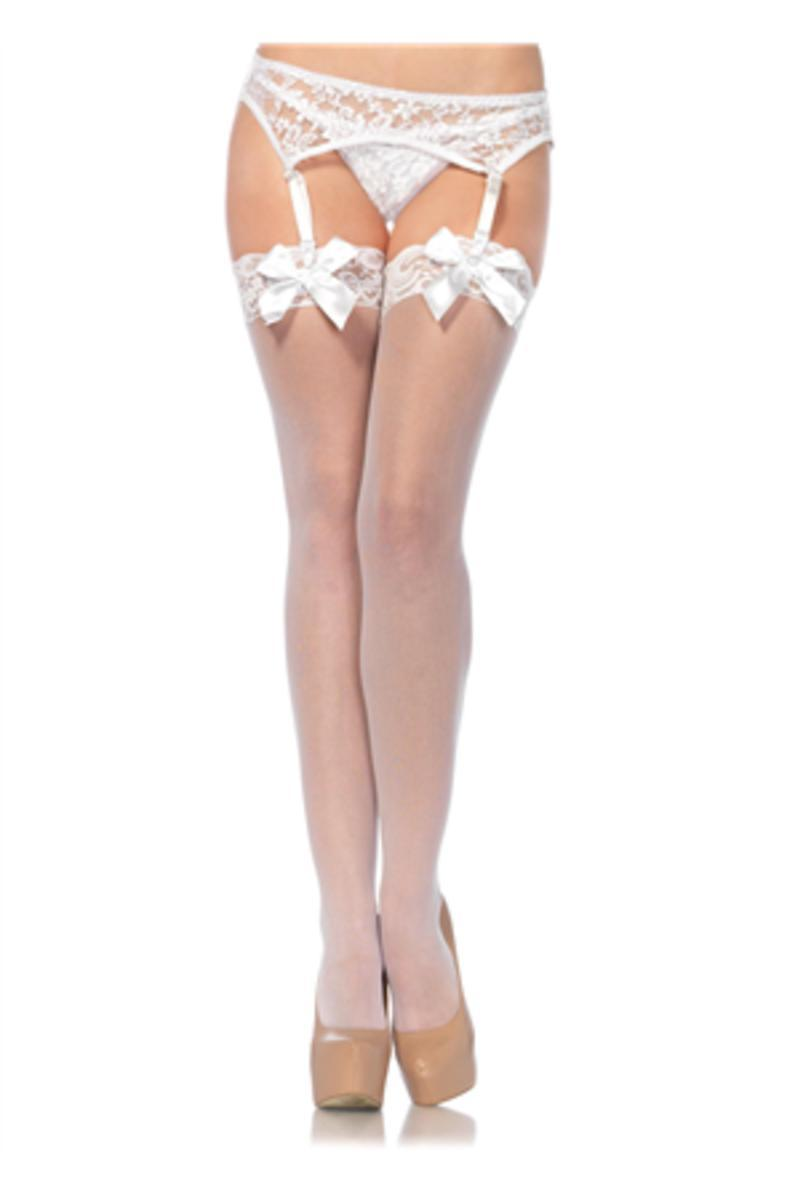 Sheer Thigh Hi Lace Top W/ Satin Bow in WHITE